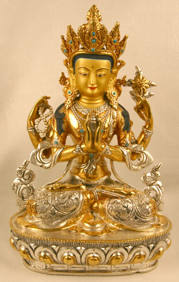Sculpture Of Avalokiteshvara Copper Gold And Silver Plated Lost Wax Form Amp Hand Engravings
