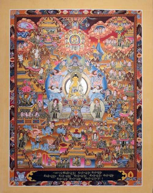 buddha lebenslauf thangka life history