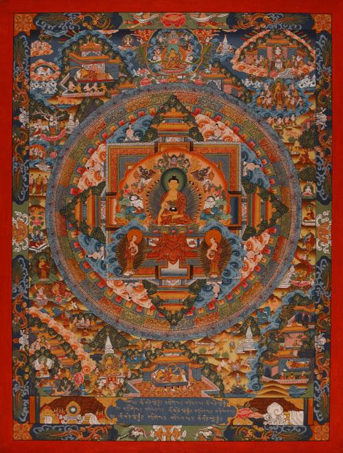 dieses herrlich gemalte mandala zeigt den buddha